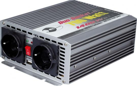 Inverter 12 V DC / 230 V AC 50 Hz - 700 watts continuous power, 1.400 watts short time peak output, USB 700 W (1 ST)