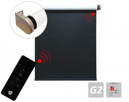 Motorized blind,colour: black and white with 0% blackout , incl.Battery motor & Emitter 120x250 cm (1 ST)